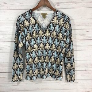 Peck & Peck Weekend V-Neck Long Sleeve Sweater S